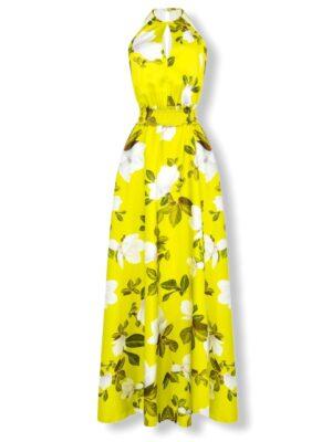 Φλοράλ σατέν μάξι φόρεμα Rinascimento