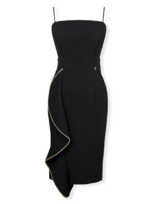 Στενό μαύρο φόρεμα με τιράντες Rinascimento