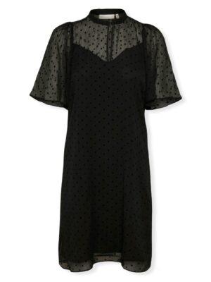 Μαύρο κοντομάνικο εβαζέ φόρεμα Cici Inwear