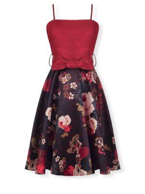 Φλοράλ φόρεμα με δερμάτινο μπούστο Rinascimento