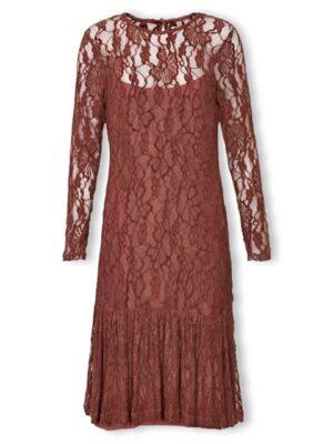 Μίντι μακρυμάνικο φόρεμα δαντέλα Posey Cream